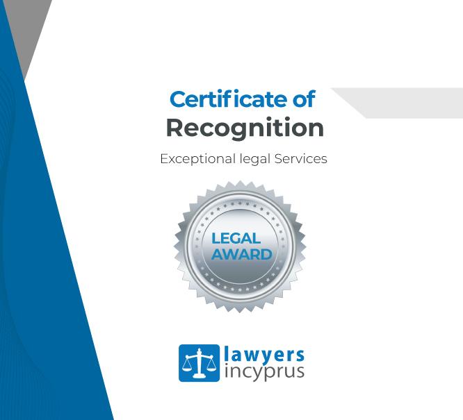 Award: Recognized by LawyersInCyprus.com